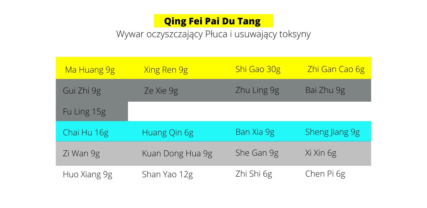 Qing Fei Pai Du Tang Wywar oczyszczający Płuca i usuwający toksyny